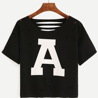 Black Letter Print Cut Out T-Shirt