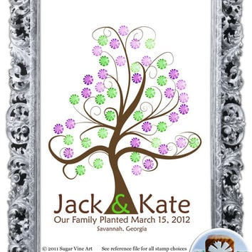 WEDDING TREE GUESTbook, Thumbprint guest book, fingerprint guest tree, fingerprint tree guest book, Stamp Tree, Love Birds, 13x19 num.105