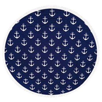 Anchor Pattern Round Beach Towel Mat Tassel Edge
