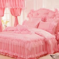 Flower Embroidery Lace Edging Princess Full Size Luxury 4-Piece Duvet Covers/Bedding Sets