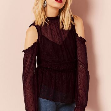 Open-Shoulder Lace Top
