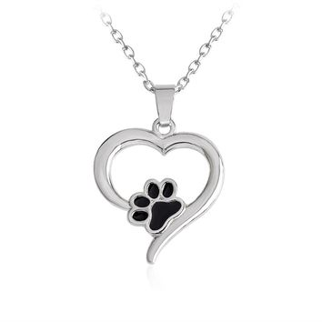 Black Dog Paw in the Heart Necklace for Women Hollow Love Heart shaped Pendant Necklace Pet Animal Jewelry for Dog Lovers