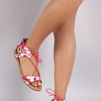 Qupid Watercolor Lace Up Ankle Cuff Flat Sandal
