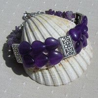"Gemstone Crystal Heart Bracelet, Purple Amethyst ""Regal Heart"""