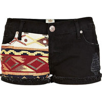 Black aztec panel frayed denim shorts