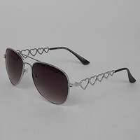Women's Heart Aviator Sunglasses in Silver by Daytrip.