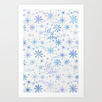 Let It Snow Winter Pattern Art Print by Noonday Design | Society6