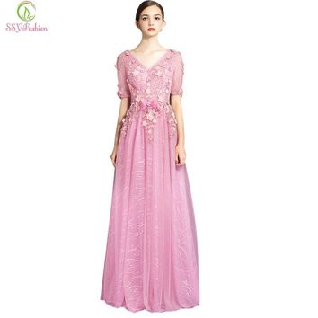 Fashion  Evening Dress Pink Lace Flower Short Sleeves Long Party Gown Bride Banquet Sexy Backless Dresses