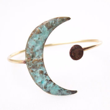 Verdigris Lunar Love Arm Cuff || Brass