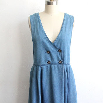 Vintage 90s Blue Denim Double-Breasted Midi Country Dress // Medium