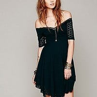 Free People  Burnout Eyelet Off The Shoulder Dress at Free People Clothing Boutique