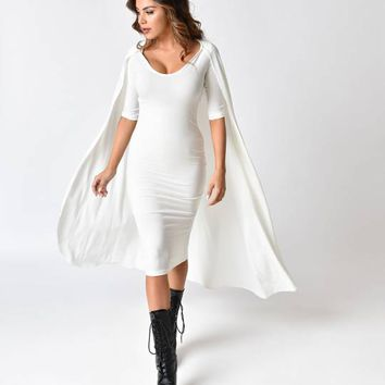 White Half Sleeve Stretch Cape Wiggle Dress