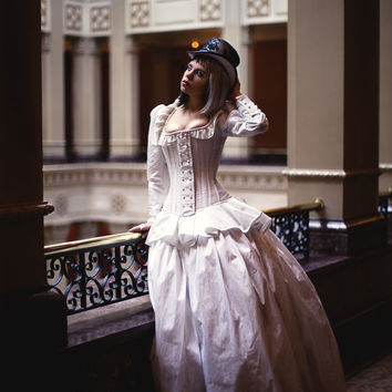 Steampunk Wedding Dress- Corset Jacket Alternative Bridal Gown Cinderella Fairytale- Custom to Order