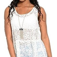 Womens Floral Sheer Lace Peplum Boho Tank Top Festival White
