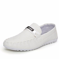 Men Metal Plaid Check Slip On Driving Breathable Loafers