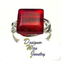 DWJ0331 Lovely Satin Red Frost Sea Glass Silver Wire Wrap Ring All Sizes