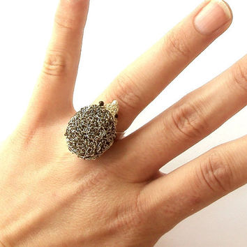 Crochet wire hedgehog ring silver plated adjustable by otherworlds