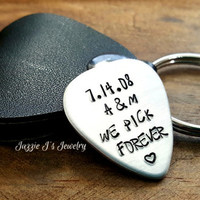 We Pick Forever Anniversary Personalized Guitar Pick with Case, Husband/Wife Gift, Wedding Day Gift, Music Lovers Gift, Boyfriend/Girlfriend