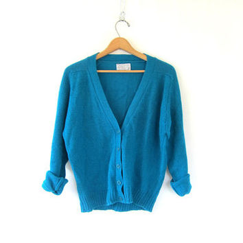80's vintage blue Pendleton sweater. preppy WOOL cardigan sweater. hipster cardigan. womens Medium