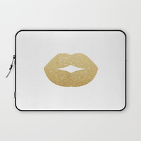 Glitter lips Laptop Sleeve by Printapix