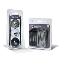 Oakland Raiders NFL 3 Ball Pack and 50 Tee Pack