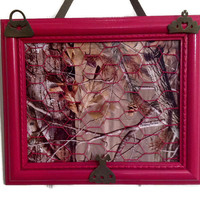 Upcycled framed chicken wire Hot Pink and Camouflage wire Bow, jewelry and photo organizer holder bulletin board. Children room decor
