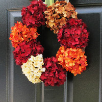 Fall Wreaths For Door, Autumn Wreath, Hydrangea Wreaths, Fall Decor, Holiday Red Orange Hydrangeas