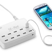 GearMo® 10-Port 60 Watt USB AC Charging Station for Smart Phones & Tablet PCs