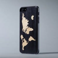 Ebony World Map Inlay - iPhone 5/5s Case
