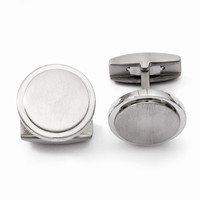 Men's Titanium Brushed and Polished Cuff Links - Engravable Gift Item
