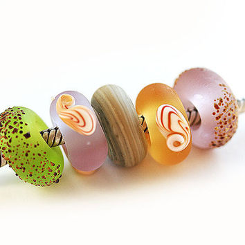 Beachy Large hole handmade lampwork glass beads fits by MayaHoney