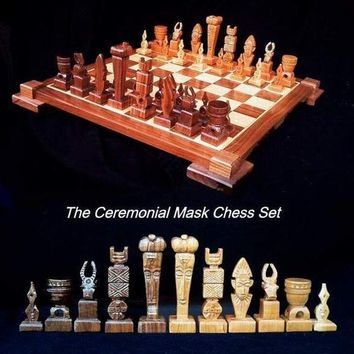 Ceremonial Mask Chess Set on etsy handmade  handcarved    custom themed wooden chess sets and wood chess table.