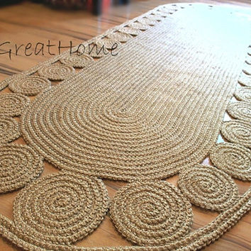 9 x 3 ft Swank decorative jute rug oval Crochet / Large Braided Rug
