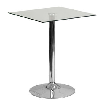Flash Furniture 23.75'' Square Glass Table with 30''H Chrome Base [CH-4-GG]