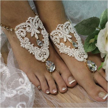 ROMANTIC barefoot sandals - ivory