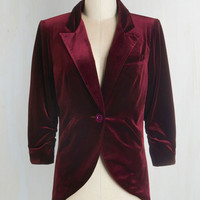 Luxe Mid-length 3 Fine and Sandy Blazer in Burgundy Velvet