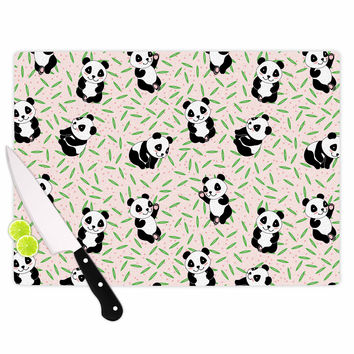 "Yenty Jap ""Little Cute Pandas "" Black White Cutting Board"
