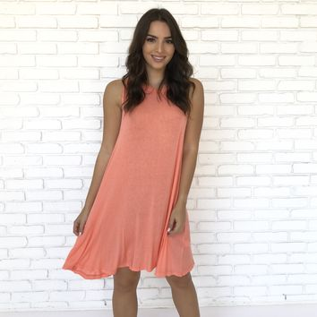 Palm Beach Flare Coral Shift Dress