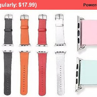 Soft Leather Strap For Apple iWatch Microfiber strap with stainless steel buckle