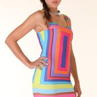 MULTICOLOURED COLORFUL GEOMETRIC DRESS @ KiwiLook fashion