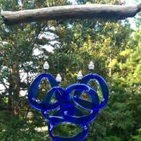 Illume Studio Recycled Blue Wine Bottle Wind Chime with Crystal Beads and Texas Driftwood