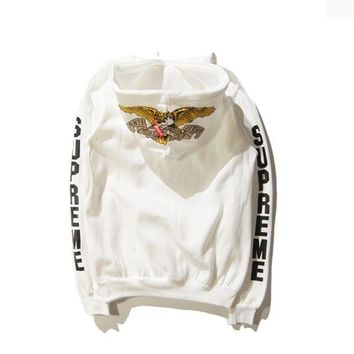 Trendy Supreme Eagle Print Unisex White Pullover Hoodies
