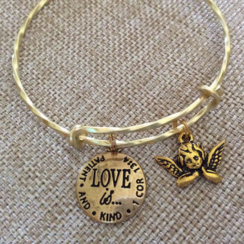 Love is Patient and Kind Gold Cherub Expandable Charm Bracelet Adjustable Twisted Wire Bangle