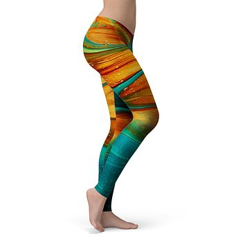 Liquid Abstract Paint V60 - All Over Print Womens Leggings / Yoga or Workout Pants