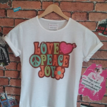 Woman's Love Peace Joy Boho print t shirt/T-shirt/tee (Men's fit also available)