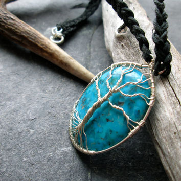 Genuine Turquoise Sterling Silver Necklace, Tree of Life Wire Wrap Pendant on Celtic Braided Black Hemp, Norse Yggdrasil Kabbalah Tree