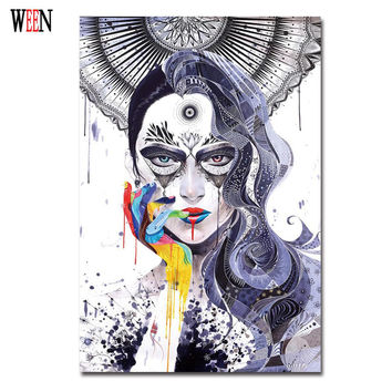 Magic Girl Decorative Pictures Abstract Wall Art Canvas Painting Unframed Cuadros Decoracion Christmas Gift Poster Retro Cheap