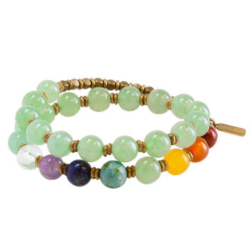 Heart Chakra, Genuine Aventurine and Chakra Gemstones 27 Bead Wrap Yoga Mala Bracelet
