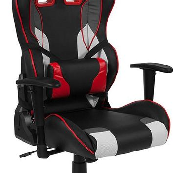 Cumberland Comfort Series High Back Black, White, Gray & Red Reclining Racing/Gaming Office Chair with Lumbar Support [CH-CX1050H-GG]