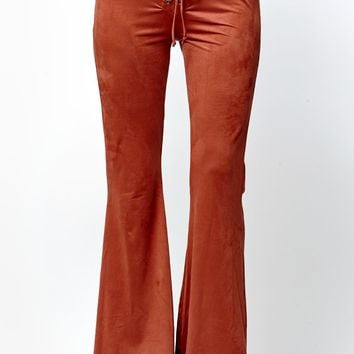 LA Hearts Faux-Suede Lace-Up Flare Pants - Womens Pants - Red